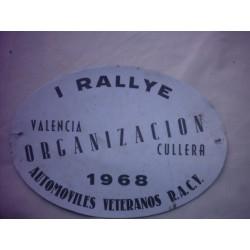 DISTINTIVO ORGANIZACION I RALLY VALENCIA CULLERA 1968
